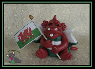 small welsh dragon with flag